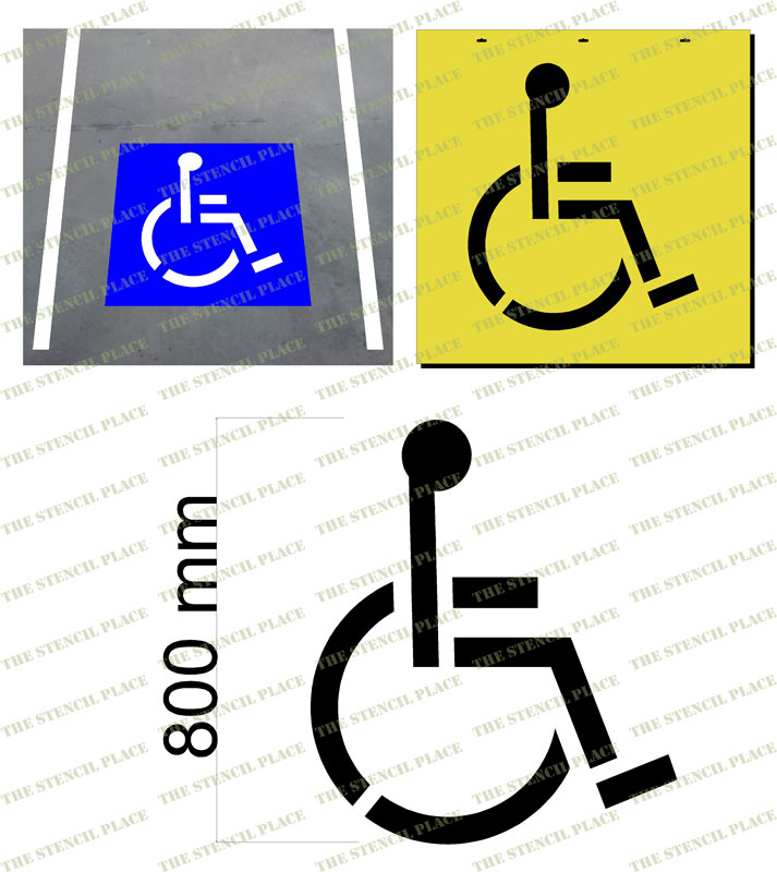 800mm DISABLED PARKING STENCIL - 1.5mm