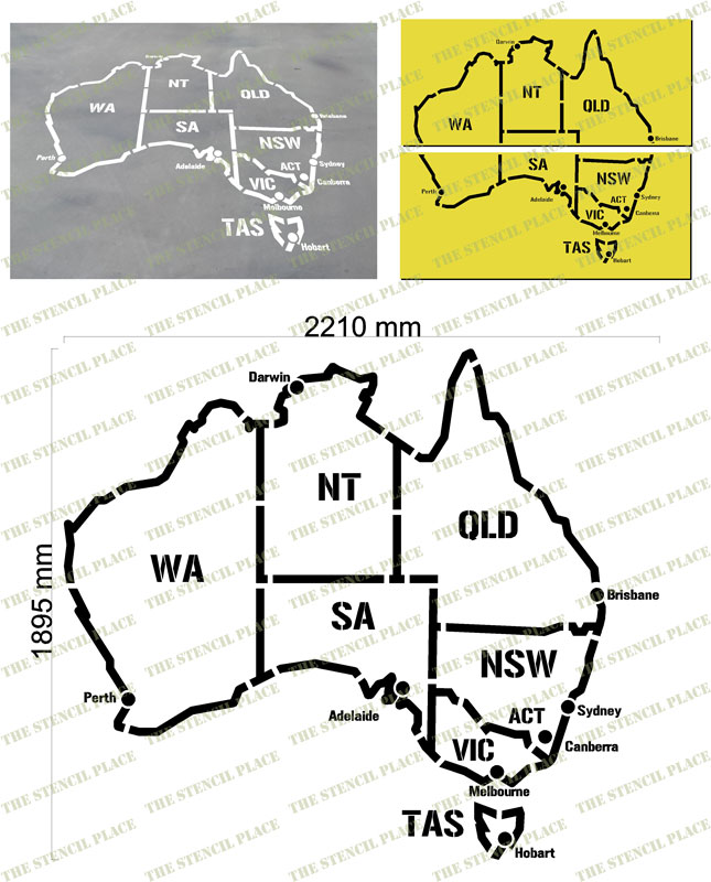 map of australia stencil 15mm